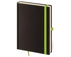 Poznámkový linkovaný blok Black Green, 9x14 cm - černá / zelená