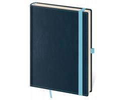 Poznámkový čtverečkovaný blok Double Blue, 9x14cm - modrá