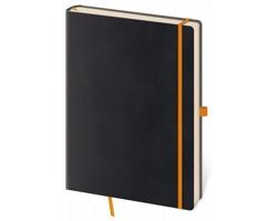 Poznámkový linkovaný blok Flexies Black, 14x20cm - černá