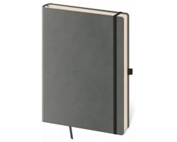 Poznámkový čtverečkovaný blok Flexies Grey, 9x14cm - šedá