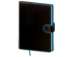 Poznámkový čtverečkovaný blok Flip, A5 - černá / modrá
