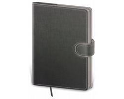 Poznámkový čtverečkovaný blok Flip, A5 - šedá / šedá