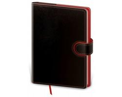 Poznámkový čtverečkovaný blok Flip, B6 - černá / červená