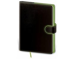 Poznámkový čtverečkovaný blok Flip, B6 - černá / zelená