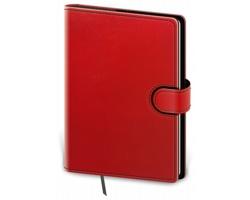 Poznámkový čtverečkovaný blok Flip, B6 - červená / černá
