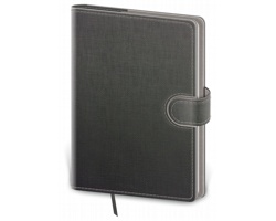 Poznámkový čtverečkovaný blok Flip, B6 - šedá / šedá