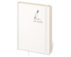 Poznámkový linkovaný blok My White, 14x20cm - bílá