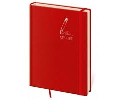 Poznámkový čtverečkovaný blok My Red, 14x20cm - červená