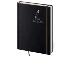 Poznámkový linkovaný blok My Black, 9x14cm - černá