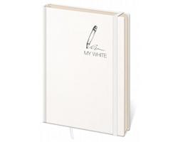 Poznámkový linkovaný blok My White, 9x14 cm - bílá