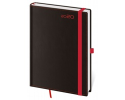 Denní diář Black Red 2020 s poutkem, A5 - černá / červená