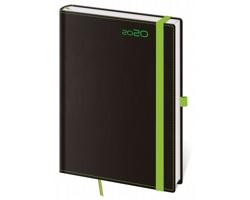 Denní diář Black Green 2020 s poutkem, A5 - černá / zelená