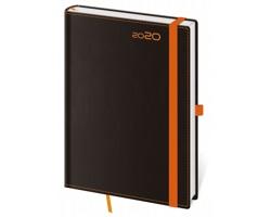 Týdenní diář Black Orange 2020 s poutkem, A5 - černá / oranžová