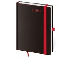 Týdenní diář Black Red 2020 s poutkem, B6 - černá / červená