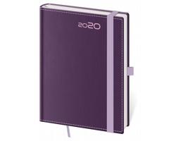 Týdenní diář Double Violet 2020 s poutkem, B6 - fialová