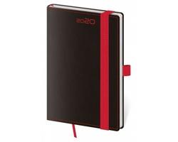 Kapesní týdenní diář Black Red 2020 s poutkem, 9x14cm - černá / červená