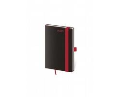 Kapesní týdenní diář Black Red 2021 s poutkem, 9x14 cm - černá / červená