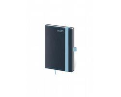 Kapesní týdenní diář Double Blue 2021 s poutkem, 9x14 cm - modrá