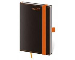 Kapesní týdenní diář Black Orange 2020 s poutkem, 9x14cm - černá / oranžová