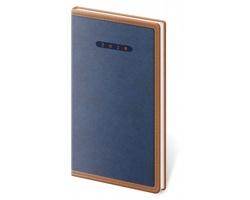 Kapesní týdenní diář Elegant 2020, 8x15cm - modrá / hnědá