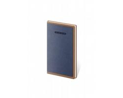 Kapesní týdenní diář Elegant 2021, 8x15 cm - modrá / hnědá
