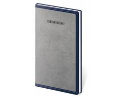 Kapesní týdenní diář Elegant 2020, 8x15cm - šedá / modrá