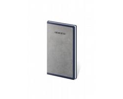 Kapesní týdenní diář Elegant 2021, 8x15 cm - šedá / modrá