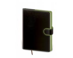 Denní diář Flip 2021, A5 - černá / zelená