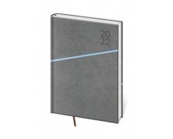 Denní diář Grife 2022, A5 - šedá / modrá