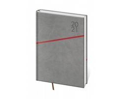 Denní diář Grife 2021, A5 - šedá / červená