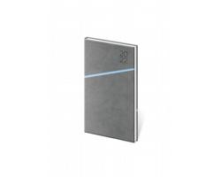 Kapesní týdenní diář Grife 2022, 8x15 cm - šedá / modrá