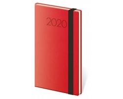Kapesní týdenní diář New Praga 2020, 8x15cm - červená