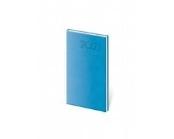 Kapesní týdenní diář Print 2021, 8x15 cm - světle modrá