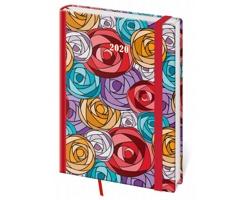 Denní diář Vario 2020 s gumičkou, A5 - roses