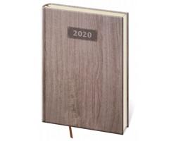 Denní diář Wood 2020, A5 - tmavě hnědá