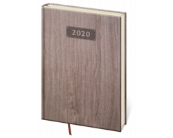Týdenní diář Wood 2020, A5 - tmavě hnědá