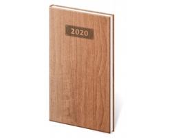 Kapesní týdenní diář Wood 2020, 8x15cm - světle hnědá