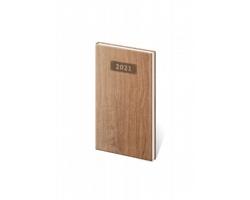 Kapesní týdenní diář Wood 2021, 8x15 cm - světle hnědá