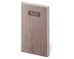 Kapesní týdenní diář Wood 2020, 8x15cm - tmavě hnědá