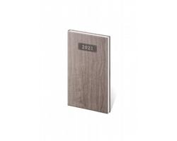 Kapesní týdenní diář Wood 2021, 8x15 cm - tmavě hnědá