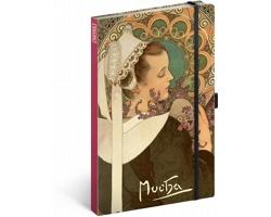 Poznámkový čistý notes Alfons Mucha - Vřes, 13x21 cm