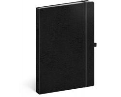 Poznámkový linkovaný notes Vivella Classic, 15x21cm - černá / černá