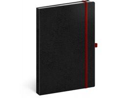 Poznámkový linkovaný notes Vivella Classic, 15x21cm - černá / červená