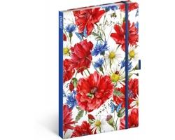 Poznámkový linkovaný notes Květiny, 13x21cm