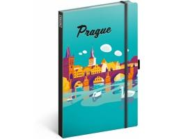 Poznámkový linkovaný notes Prague, 13x21 cm