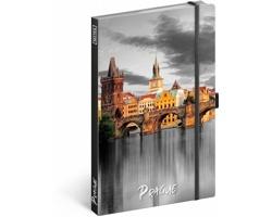 Poznámkový linkovaný notes Praha, 13x21 cm