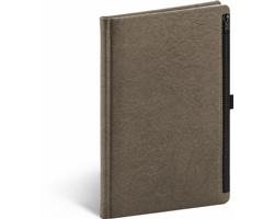 Poznámkový linkovaný notes Hardy, 13x21 cm - hnědá