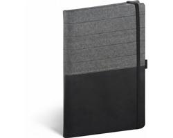 Poznámkový linkovaný notes Skiver, 13x21 cm - černá / šedá