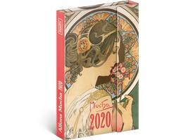 Týdenní diář  Alfons Mucha 2020 - východoevropské magnetický, 11x16cm