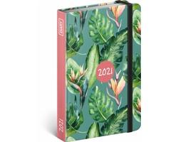 Týdenní diář Monstera 2021 - západoevropský, 11x16 cm